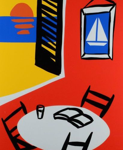 Tom SLAUGHTER (1955 2014) Summer; Red interior yellow interior car and cart Port…