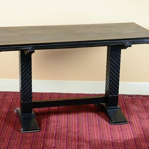 JEAN PASCAUD (1903 1996) (ATTRIBUÉ À) Oak console with rectangular top, two groo…
