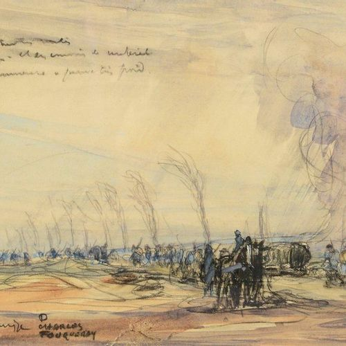 Charles FOUQUERAY (1869 1956) Hairy scene, war 14/18, 1916 Pencil and watercolou…