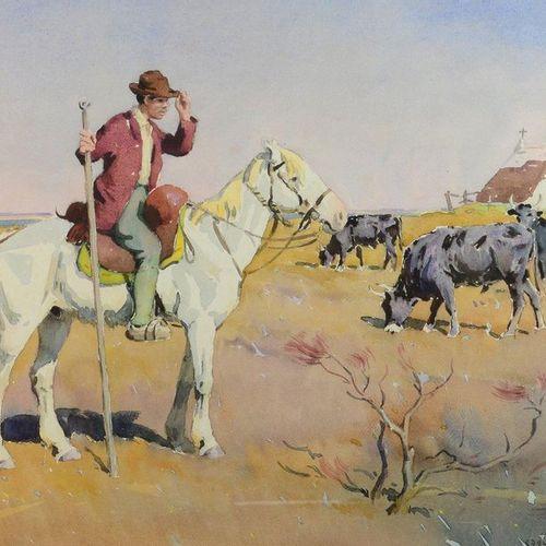 Edouard DOIGNEAU (1865 1954) Le gardian Watercolour, signed lower right. 46 x 61…