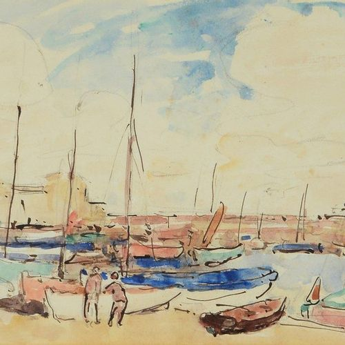 Georges D'ESPAGNAT (1870 1950) Sailboats Watercolour, signed with the initials b…