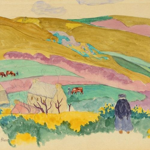 Augustin HANICOTTE (1870 1957) Synthetic landscape Watercolour, signed lower lef…