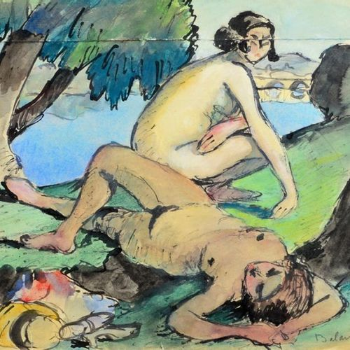 Gaston BALANDE (1880 1971) Les baigneuses Watercolour, signed lower right (cut o…