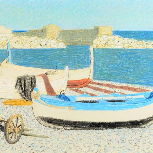 Louis DUSSOUR (1905 1986) Boats on the beach Pencil and pastel, signed lower rig…