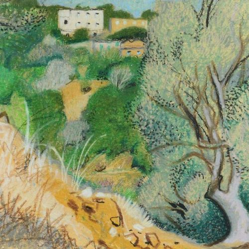 Louis DUSSOUR (1905 1986) The olive trees Pencil and pastel, signed lower left. …