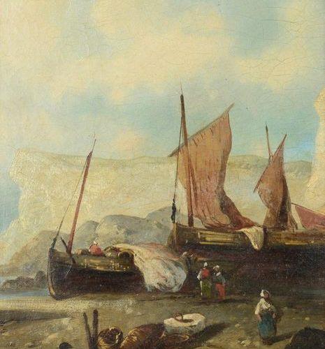 ÉCOLE FRANÇAISE du XIXe siècle, dans le goût d'ISABEY Marine Oil on panel. 28 x …