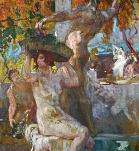 *Édmond LESELLIER (1885 1920) Les vendanges, allegorical scene Oil on canvas, si…