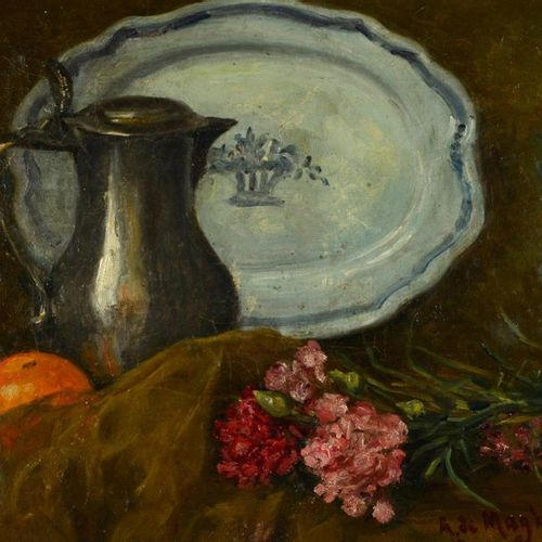Alfred de MAGHELLEN (1871 ?) Still life with orange and flowers Oil on canvas, s…
