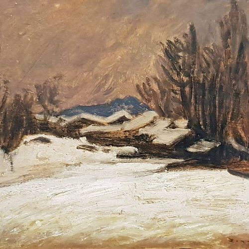 Jules Emile ZINGG (1882 1942) Neige dans le Doubs Oil on cardboard, signed lower…