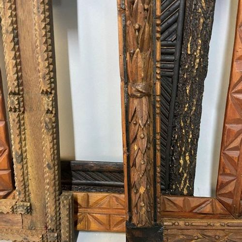 4 frames including two Black Forest, and two with geometrical decoration, 19th C…