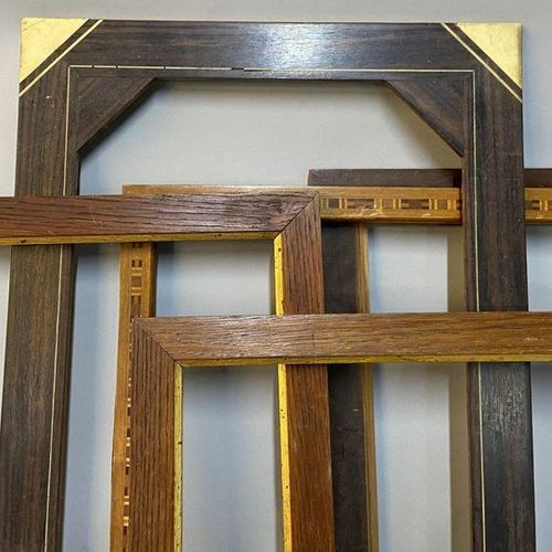 Set of 3 frames and sticks in wood and various veneers, 19th and 20th century  A…
