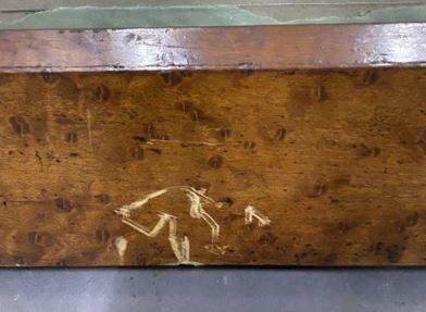 Two sticks in wood and veneer of various species  nineteenth century  55 x 42.5 …