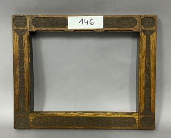 Sculpted oak frame with pilaster decoration in entablature  Circa 1900  25 x 33.…