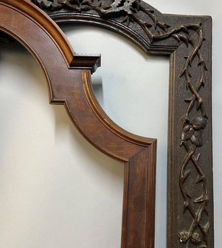 Two natural wood frames, the top curved, XIXth century.  90,5 x 38 x 9 cm  90.5 …