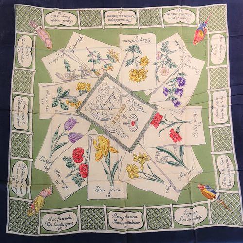HERMÈS paris  Rarissime carré en soie imprimée titré « Le langage des fleurs » à…