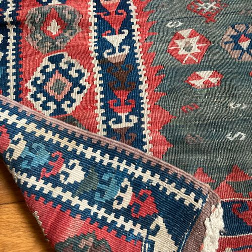 Two Kilim carpets with geometric decoration  142 x 102 108 x 168 cm Lot sold as …