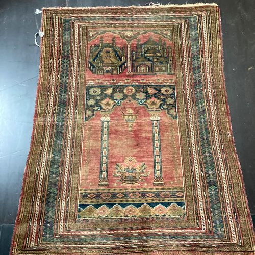 Carpet with architectural decoration  123 x 90 cm Lot sold as is