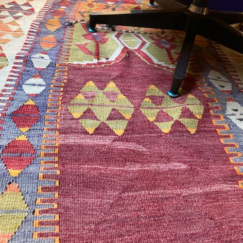 Two Kilim carpets  126 x 191 130 x 180  A small carpet 73 x 96 cm is attached to…
