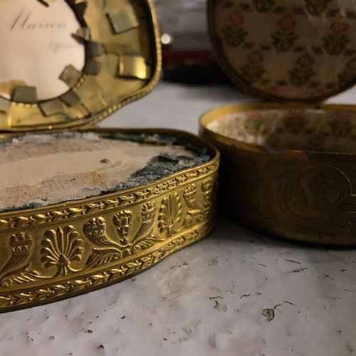 Two bronze boxes and miniatures circa 1900  10 x 7 cm and 8 cm diameter  (sold a…