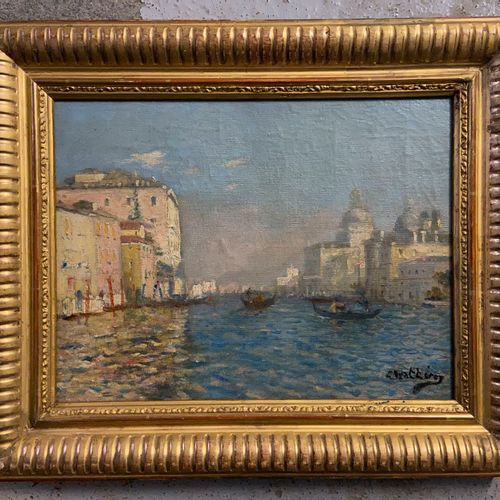 View of Venice  Oil on canvas, signed lower right  25 x 33 cm  (sold as is)