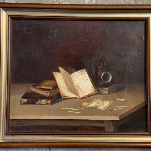 Still life  Oil on canvas  Signed lower left and dated 1888.  38 x 46 cm  (sold …