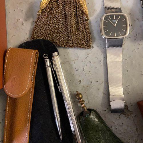 Costume jewelry set, watches cufflinks, earrings, belt buckles, sewing kit, smal…