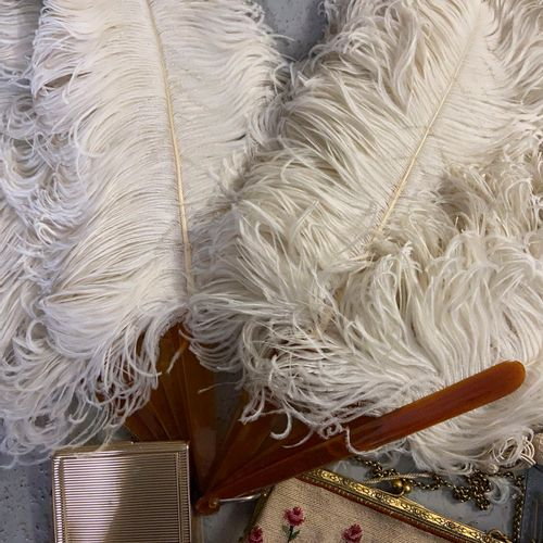 Fancy set including a feather fan, a set of lipstick cases, evening bag, small p…
