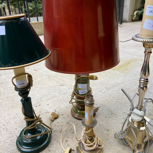 Set of 5 lamp bases, three in metal, one in sheet metal, and one in marble like …