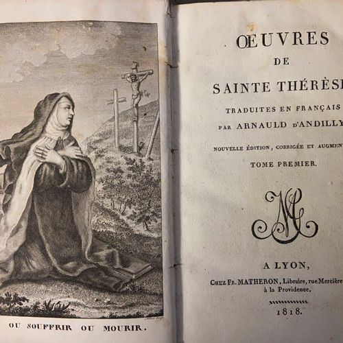 Lot of bound books, the sanctified nun, works of Saint Teresa, painting of a tru…