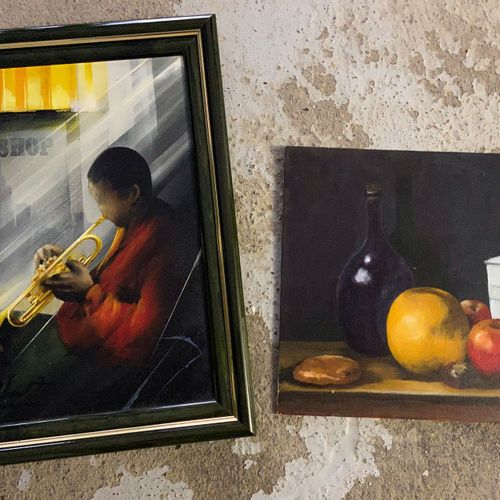 Saxophone player  Oil on canvas, signed lower right  signed and titled behind Bl…