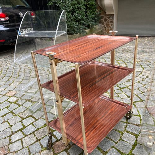 Two shelves and a rolling table on wheels  (sold as is)  (FURNITURE STORAGE SAIN…