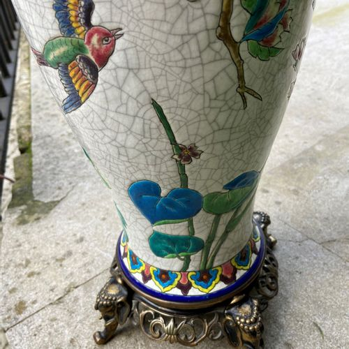 LONGWY  Baluster vase mounted as a lamp  Total height: 52 cm  (sold as is)