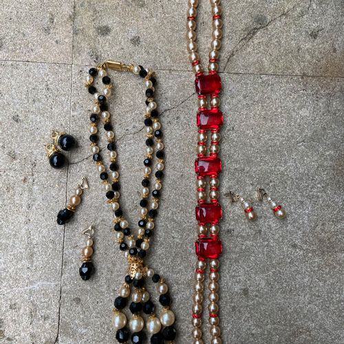 Two necklace sets earrings, red stones and black stones  (sold as is)
