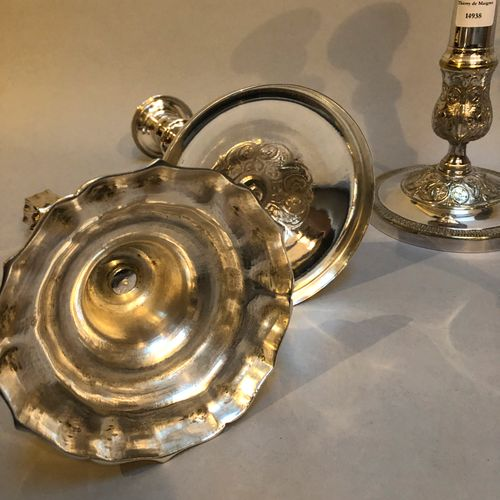 Set of 5 silver plated metal torches (24.5 to 27 cm) Sold as is