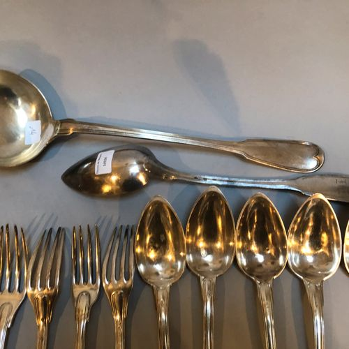 Set of mismatched cutlery model nets: 14 forks, 12 spoons, 7 teaspoons, 1 ladle,…