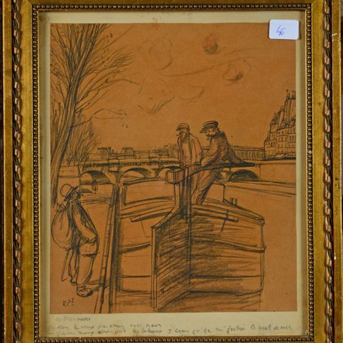 Les Mariniers (men on a barge), black stone on brown paper  25.5 x 21 cm