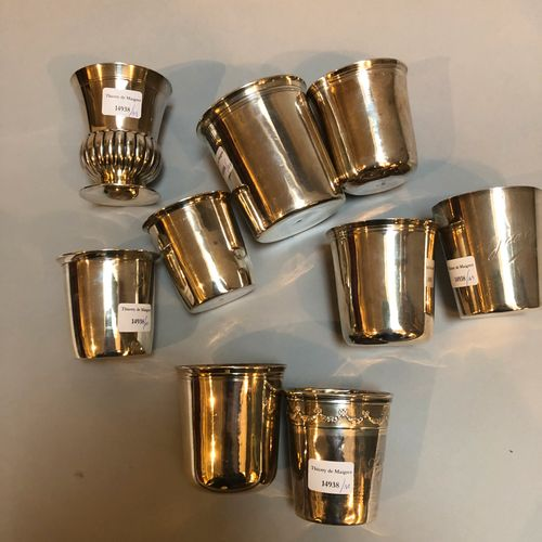 Set of 9 timpani including 8 silver timpani and 1 silver metal timpani  Gross we…