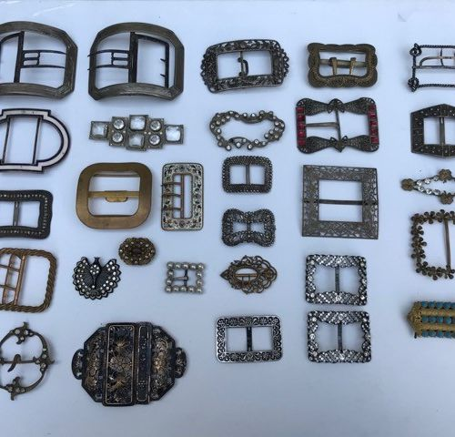 Collection of belt buckles, shoe buckles, brooches...  About 50 pieces. Sold as …