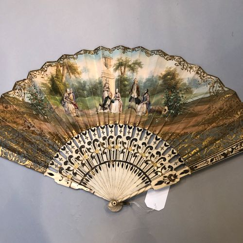 Set of 4 fans :   Fan mount, paper sheet with a country scene, young people arou…