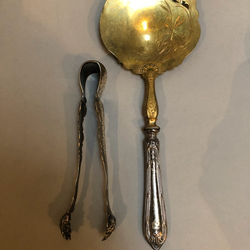 Silver set: sugar tongs, 2 sprinkling spoons, 1 spoon, salt shovels, silver moun…