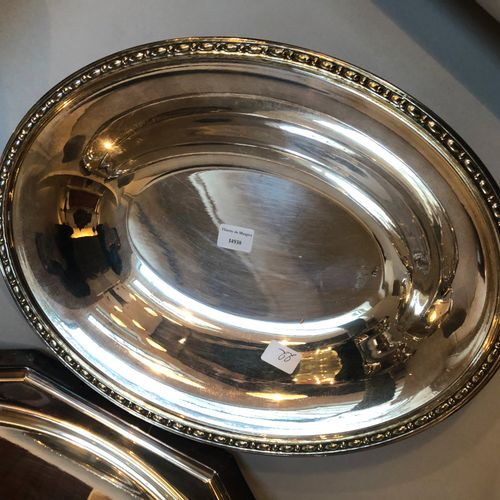 Set of silver plated metal including 2 trays (52 and 56 cm), 1 basin (34cm) and …