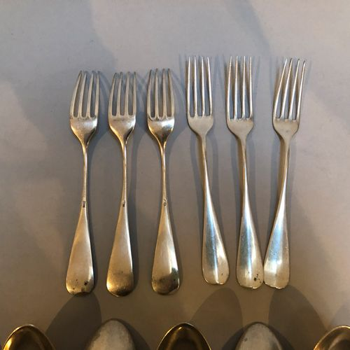 6 silver cutlery and 6 silver dessert forks 800/1000  Gross weight: 970.6 Sold a…