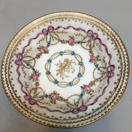 Litron cup and its saucer, decoration of doves, garlands of flowers and bows  So…