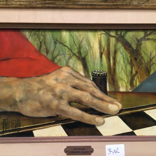 FERNANDO PALICIO  Two boxes:  hand on a chessboard and hand holding a card...  1…
