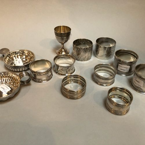 9 napkin rings, 1 egg cup and 2 tastevins  Minerve  Weight: 348.3g  Shocks Sold …