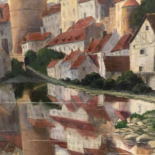 Attributed to Edmond Marie PetitJean (1844 1925)  City with two towers along the…
