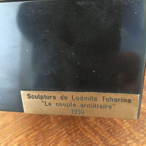 Ludmilla TCHERINA  Groupe en bronze n°3/8, 1990  Le couple armillaire  Hauteur :…