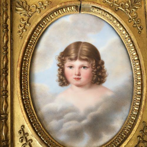 Miniature portrait d'enfant  XIXème  10x13 cm
