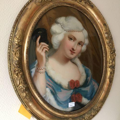 Paire fixes sous verre ovales, style XVIII  Cadre bois  40 x 32 cm