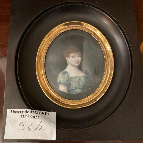 Ecole de la fin du XVIIIème / début du XIXème siècle  Deux miniatures  H. Totale…